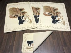 ROMANY GYPSY WASHABLES NEW 2019 SET OF 4 MATS CREAMS/BEIGE/BROWN NON SLIP HORSES